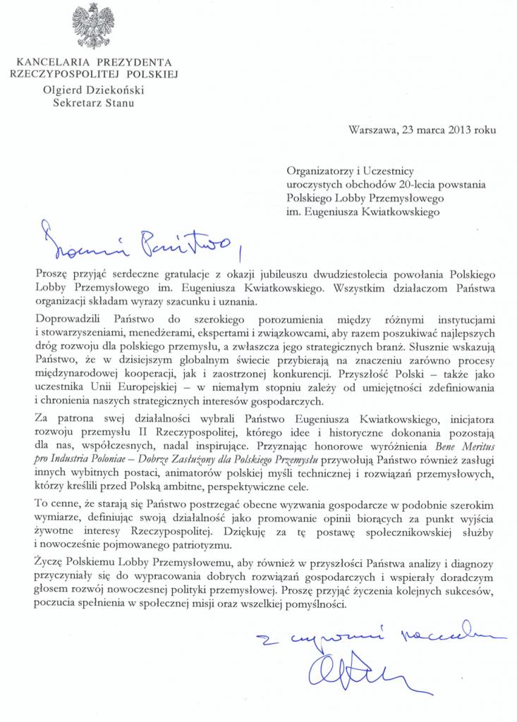 pismo Ministra Dziekońskiego