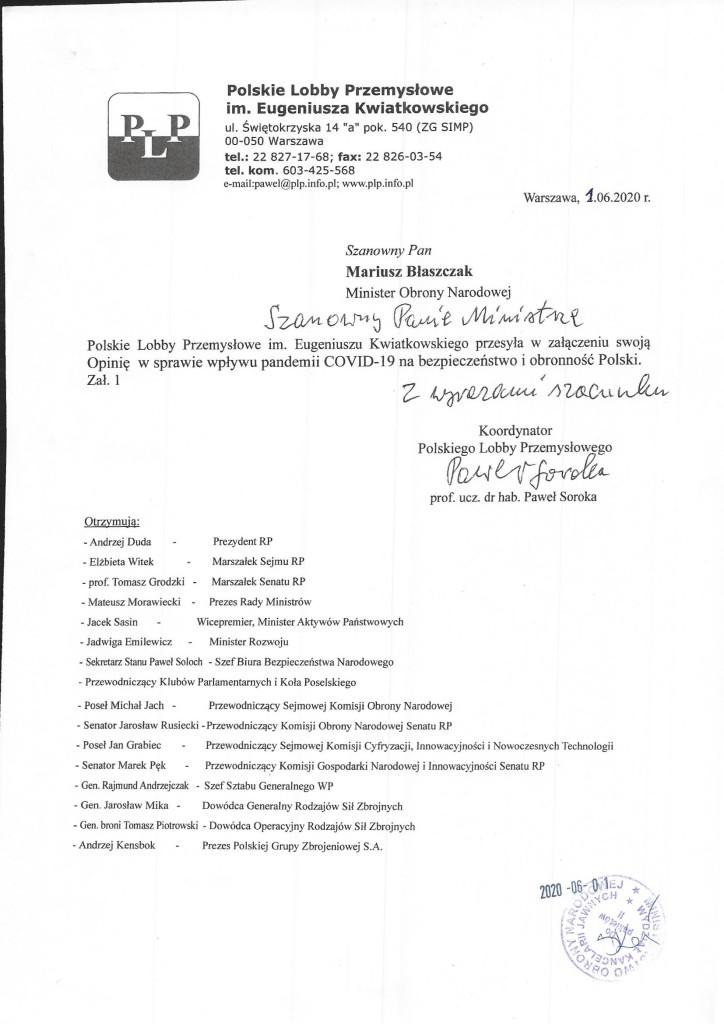 Pismo przewodnie dotyczące opinii PLP o wpływie pandemii na bezpieczeństwo i obronność Polski