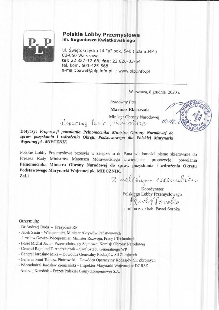 Pismo do wiadomośći Ministra Obrony Narodowej w sprawie programu Miecznik